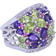 Adorable Amethyst Pink Tourmaline Peridot and Diamond Ring