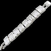 Fabulous Art Deco Rock Crystal Quartz and Sterling Silver Bracelet