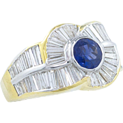 Striking 7.92 Carat Diamond Blue Sapphire Ring