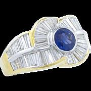 Striking 7.92 Carat Diamond Blue Sapphire Ring