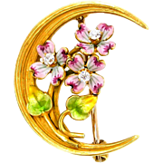 19th Century Art Nouveau Enameled Gold and Diamond Brooch