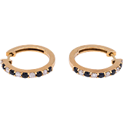 Charming Diamond and Blue Sapphire Gold Hoop Earrings