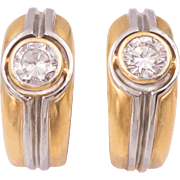 Diamond Earrings in 18 Karat Yellow and White Gold