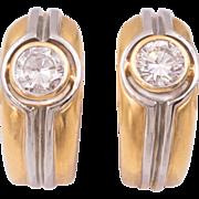 Diamond Earrings in 18 Karat Yellow and White Gold
