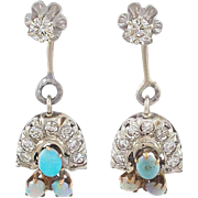 Adorable Diamond Opal Jacket Earrings with Diamond Studs and Opal Diamond Drops
