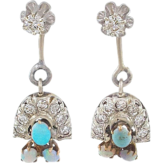 Adorable Diamond Opal Jacket Earrings with Diamond Studs and Opal Diamond Drops