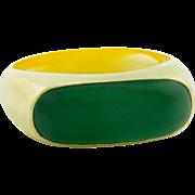 Jadeite Jade Gold Saddle Ring Natural Untreated Type A