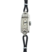 Art Deco Ladies Platinum Diamond Wristwatch