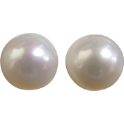 8.5mm Japanese Akoya Cultured Pearl Earrings in 14K Gold