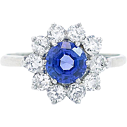 Tanzanite and Diamond Ring Set in Platinum