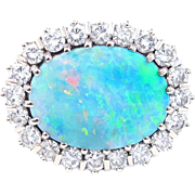 Brilliant Australian Opal and Diamond Platinum Ring