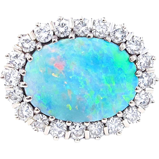 Brilliant Australian Opal and Diamond Platinum Ring