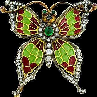 Plique a Jour Enamel Diamond and Gold Butterfly Brooch