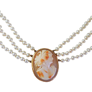 Victorian Cameo Necklace by Birks on Triple Strand Cultured Pearls