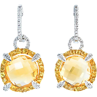 Sumptuous Citrine Diamond White Gold Drop Earrings