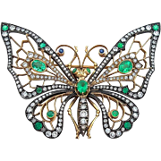 Emerald Diamond Silver and 14 Karat Gold Butterfly Brooch