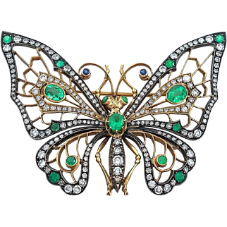 Emerald Diamond Silver and 14 Karat Gold Butterfly Brooch