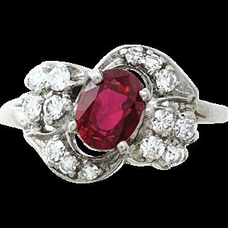Intense Red Ruby and Diamond Ring Set in Palladium