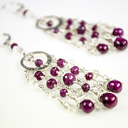 Ruby, Rainbow Moonstone, Marcasite, Sterling silver Chandelier Earrings