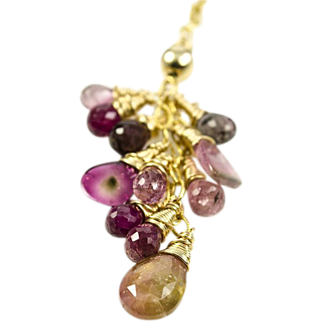 Watermelon Tourmaline, Pink Tourmaline, 14k gold fill necklace