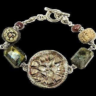 Raku, Labradorite, Fancy Jasper, Fine Silver, Sterling Silver Bracelet