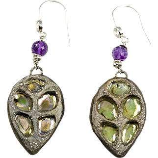 Raku, Amethyst, Cubic Zirconia, Sterling and Fine Silver earrings