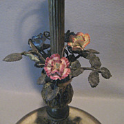 Vintage Tall Stick Lamp with Porcelain Flowers - ornate - Nice