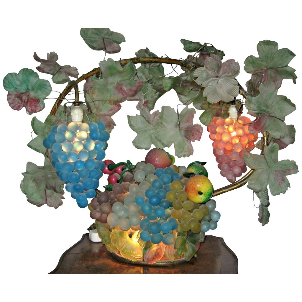 Impressive Large Czech Glass Grape & Fruit Lamp 1890-1915
