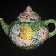 Teapot Italy Hand painted with Flowers & Leaves