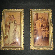 "Pair of Delightful Victorian Prints Gesso Frames 12"" x 7"""