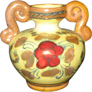 "Miniature 2"" Vintage Vase -Italian Pottery hand painted urn c 1916 - marked"