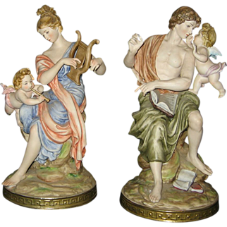 Magnificent Pair of Capodimonte Porcelain Bisque - Woman & Man with Cherubs