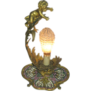Fabulous French Cherub Putti Antique Bronze & Enamel Boudoir / Accent Lamp