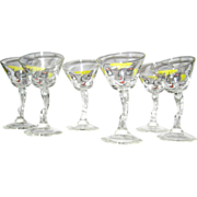Retro Set of 6 Gay Fad Tipsy Cocktail Martini Glasses Hand painted  – Signed circa 1950's