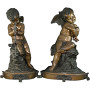 "Remarkable Antique Pair of Bronze Angel Cherub Sculptures / Statues – Signed –   Large 21"" Tall x 14"" wide"