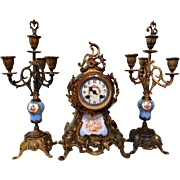 Vintage Porcelain French Clock Set (3pc)