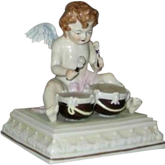 Fabulous Scheibe Alsbach porcelain Cherub Angel with Drum  - Germany