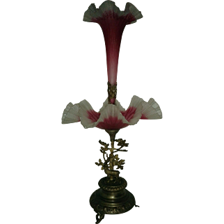 Fabulous Victorian Cranberry Epergne Center Piece with Deer at base circa 1880