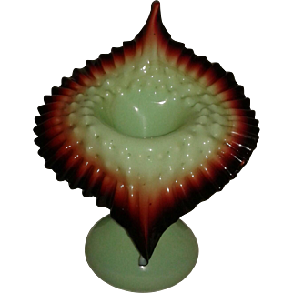 Large Victorian Vase Jack-in-the-Pulpit Green with Oxblood Rim
