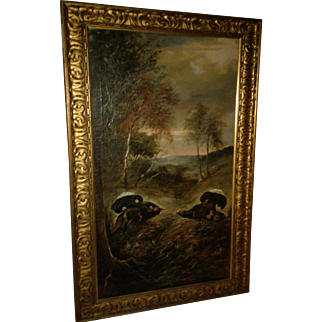 Large Victorian Painting Landscape with Birds Vivid Colors