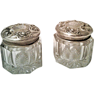 A Wonderful Pair / Set of Antique Victorian Sterling Silver Dresser Jars