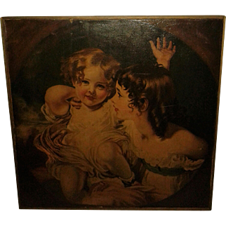 "Vintage Beautiful Mother Baby Painting - Large  29"" x 29""  Circa 1920's"