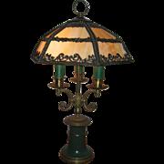 Unique Impressive Vintage Candelabra Slag Glass Table Lamp
