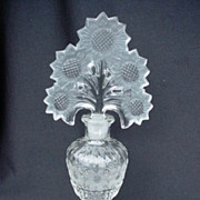 Gorgeous Vintage Imperial Glass Sunflower Fan Top Perfume Bottle circa 1940's