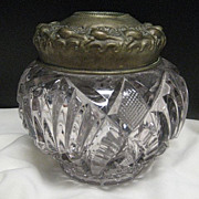 Beautiful Vintage Glass Dresser Jar - Hair Receiver Circa 1890