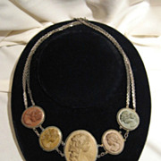 Fabulous Victorian Lava Cameo Necklace - 5 Cameo's (bevy of bacchantes)