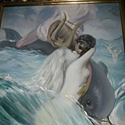 Fabulous Large Painting by Renown Artist Peter Driben (1965) Lovers at Sea