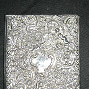 One Striking Vintage Photo Album with Cherub, Ornate Sterling Silver and Leather 12 x 10""