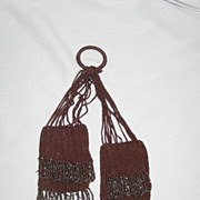 Eighteenth Century Victorian Miser Beaded Purse Bag, Brown with Cut Steel Fringe Beadwork