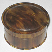 """Vintage Faux Tortoise Shell Vanity Box - Made in England - Small  2-1/8"""""""